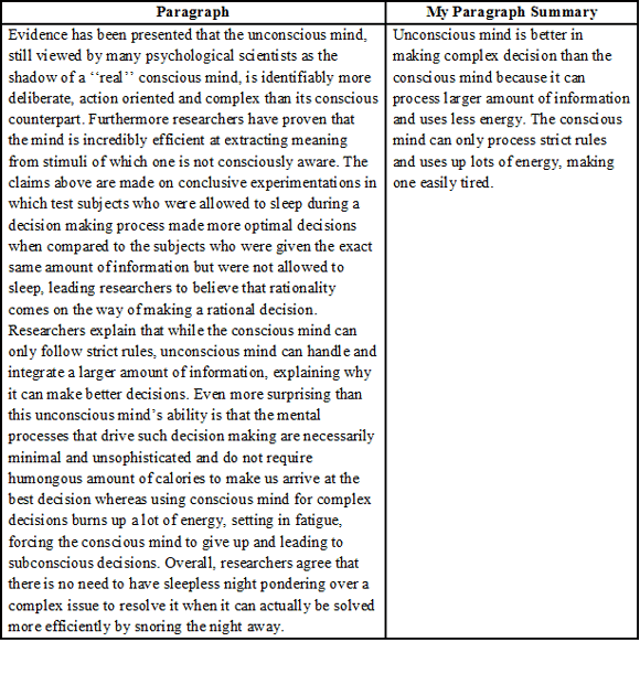 how to summarize a paragraph
